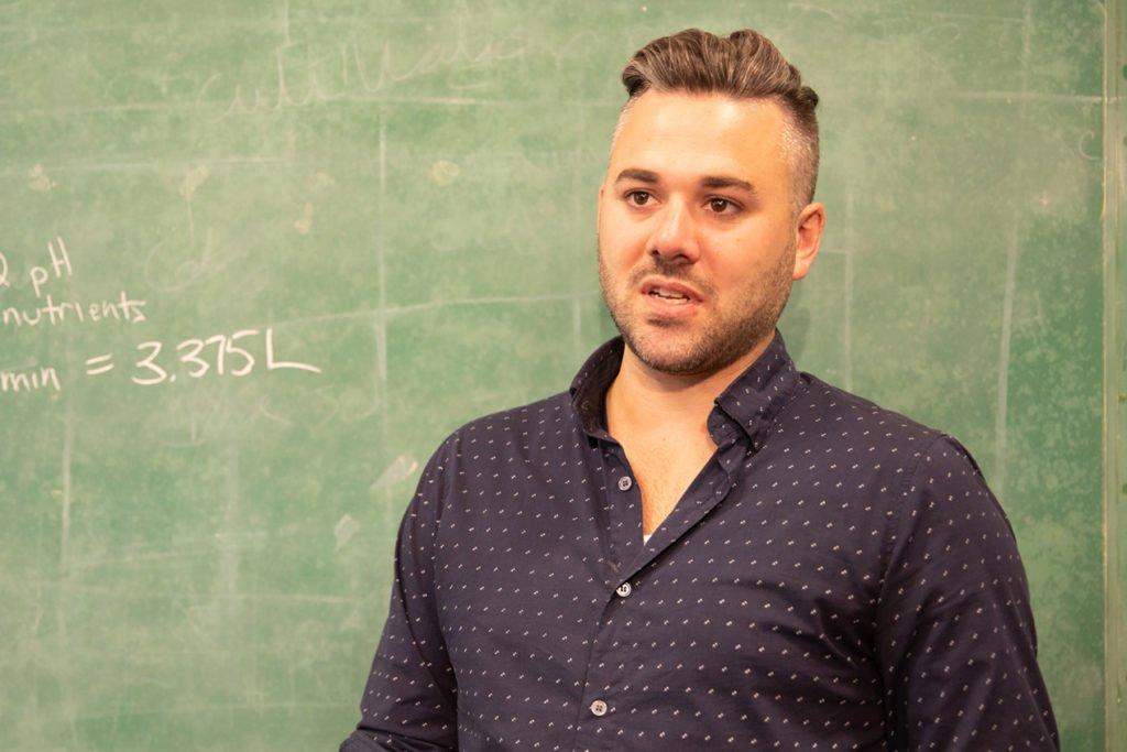Rob O'Neill at a blackboard
